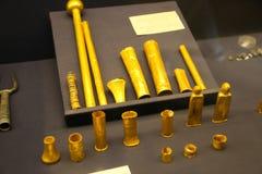 古老金子上古-图坦卡蒙国王珍宝,埃及博物馆 免版税库存图片