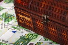 古老钞票配件箱欧元 免版税图库摄影