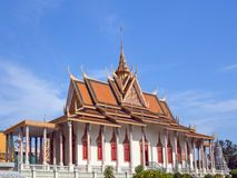 古老银色塔在金边,柬埔寨 库存图片