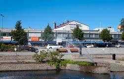 古老银行芬兰森林imatra河岩石vuoksi 阿斯塔纳首都喷泉卡扎克斯坦 免版税图库摄影