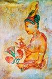 古老锡兰壁画挂接sigiriya 免版税库存图片