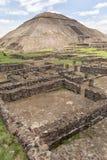 古老阿兹台克人废墟在特奥蒂瓦坎墨西哥 库存图片