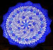 古老阿拉伯伊斯兰教的设计蓝色瓦器米底巴约旦 图库摄影