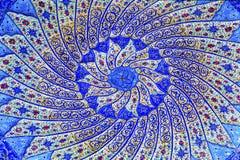 古老阿拉伯伊斯兰教的设计蓝色瓦器米底巴约旦 库存照片