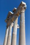 古老阿波罗寺庙专栏在土耳其边 库存图片