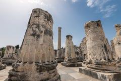 古老阿波罗寺庙的巨型专栏在Didyma 免版税库存照片