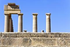 古老阿波罗希腊罗得斯寺庙 免版税库存图片