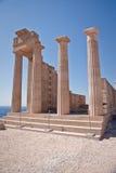 古老阿波罗教堂在Lindos的 库存照片