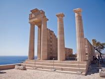 古老阿波罗教堂在Lindos的 免版税库存图片