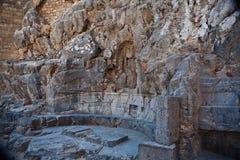 古老阿波罗教堂在Lindos的 免版税库存照片