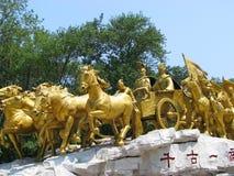 古老陆军中国人雕象 库存图片