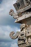 古老雕刻玛雅女修道院 免版税库存照片