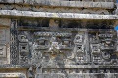 古老雕刻玛雅女修道院 免版税库存图片