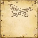 古老飞机 老纸的模仿 图库摄影