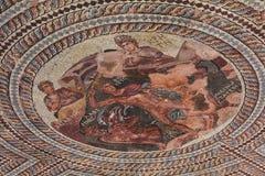 古老马赛克在帕福斯,塞浦路斯 库存图片