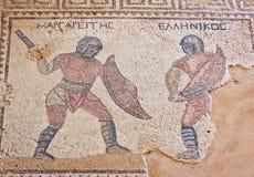 古老马赛克在Kourion,塞浦路斯 免版税图库摄影