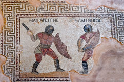 古老马赛克的片段在Kourion,塞浦路斯 免版税库存图片