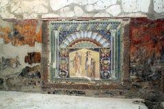 古老马赛克tilework赫库兰尼姆废墟,埃尔科拉诺意大利 库存照片