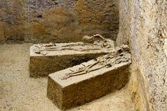 古老骨头被发掘在Khonkaen考古学站点和Dvaravati有3000岁 图库摄影