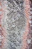 古老高棉鹦鹉雕刻 图库摄影