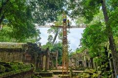 古老高棉建筑学的重建在密林 免版税库存照片