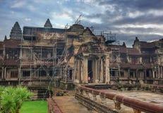 古老高棉建筑学 Wat复合体,暹粒,柬埔寨旅行目的地 免版税库存图片
