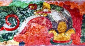 古老鸟绘画墙壁上的印地安人破坏特奥蒂瓦坎墨西哥城 免版税库存图片