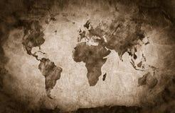 古老,旧世界地图 铅笔剪影,葡萄酒背景 免版税库存照片