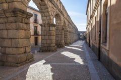 古老,罗马渡槽在塞戈维亚,西班牙 免版税图库摄影
