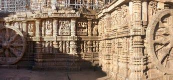 古老,运输车设计了印度寺庙 库存图片
