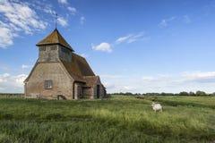 古老13世纪遗弃教会在充满活力的蓝天夏天 免版税库存照片