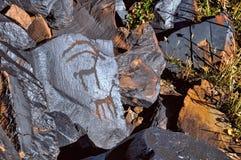 古老刻在岩石上的文字 免版税库存照片