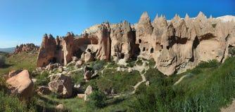 古老洞城市在卡帕多细亚 免版税库存照片