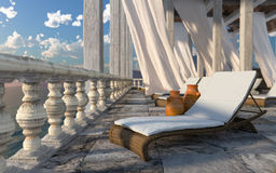 古老建筑学有sunbed概念旅游业假期背景 免版税库存照片