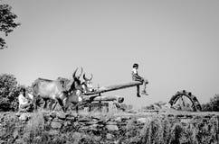 古老水车在古杰雷特,印度 库存照片