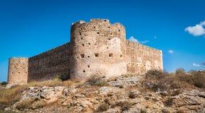古老Aptera的土耳其中世纪堡垒在克利特,希腊 免版税库存图片
