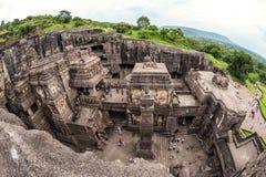 26 27古老aurangabad在编号赢得不可变更的寺庙附近洞洞ellora山坡印度印度 免版税库存图片