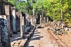 古老Bayon寺庙,吴哥城,受欢迎的旅游胜地在暹粒市,柬埔寨 图库摄影