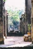 古老Bayon寺庙,吴哥城,受欢迎的旅游胜地在暹粒市,柬埔寨 库存照片