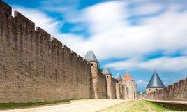 古老carcassonne城堡法国 库存照片