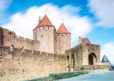 古老carcassonne城堡法国 库存图片