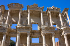 古老celsus ephesus门面图书馆 图库摄影
