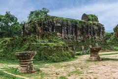 古老Champa的被破坏的寺庙 库存照片