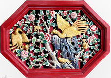 古老chiness phoenixs雕象 图库摄影