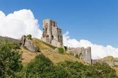古老Corfe城堡,多西特,英国 图库摄影