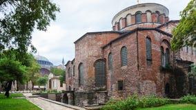 古老Hagia艾琳教会大厦在伊斯坦布尔 免版税库存照片