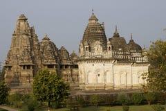 古老khajuraho寺庙 免版税库存照片