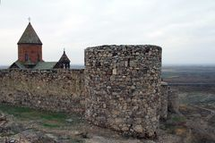 古老Khor Virap修道院在亚美尼亚 免版税库存照片