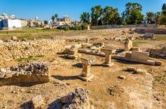 古老Kition,一个考古学站点在拉纳卡 图库摄影