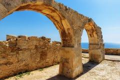 古老Kourion,利马索尔,塞浦路斯曲拱废墟  免版税库存照片